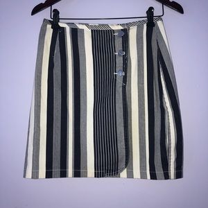 Vintage white and navy striped wrap skirt